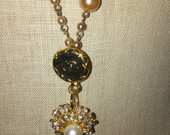 Authentic Chanel Gold Tone Faux Pearl and Rhinestone Necklace