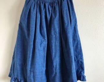 50's-60's High Waisted Blue-Denim Like Midi Skirt / W24