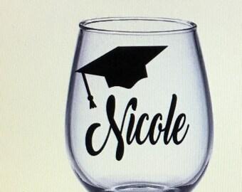 Graduation wine glass. Graduation gift. Gift for graduation. Graduate gift. Graduate wine glass. Graduation gift ideas. Grad wine glass.