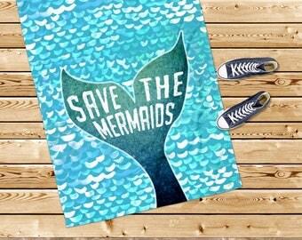 Beach towel, mermaid towel, mermaid tail towel, mermaid gift, blue towel, nautical gift, girl towel, for her, beach gift, beach house
