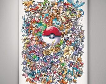 Pokemon - 1st Generation// Art Print// Illustration