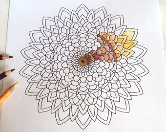 Mandala Adult Colouring Page 2 - PDF Printable Drawing - Abstract Floral Art 'Sunflower' - Instant Download