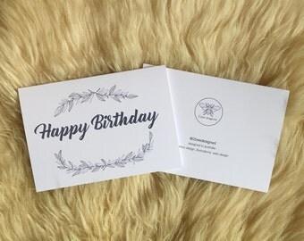Simple Birthday Leaf Wreath Card