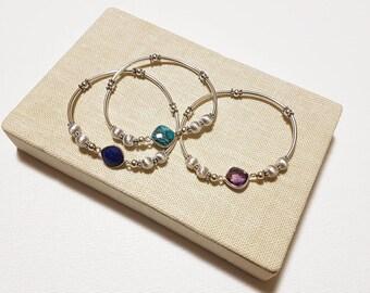 925 Sterling Silver Stretch bracelet with Amethyst / Turquoise / Lapis Lazuli, Stretch Bracelet, Silver Ball Bracelet,