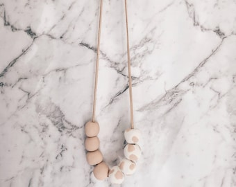 Polymer Clay Bead Necklace ||  Neutral tones -- Tan and White