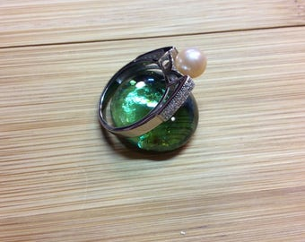 Pearl & CZ Ring