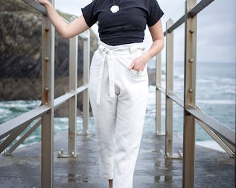 Linen Wrap Closure Trousers