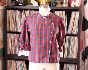 vintage 80s plaid blouse with ruffled high collar and asymmetrical buttons . womens xs small