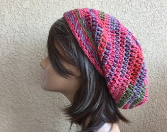 Boho Hat,   Slouchy Beanie,  Hipster slouchy hat,  Striped Fruit Colors Crochet hat, Teen or Adult Slouch Hat, Ready to Ship, Trendy Beanie