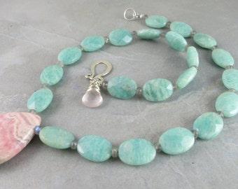 Amazonite, Labradorite And Rhodocrosite Gemstone Necklace