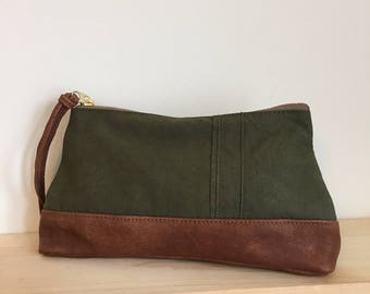 Recycled Olive Green Canvas and  Brown Leather Pouch