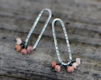 blush small hoop earrings - pink peruvian opal and sterling silver