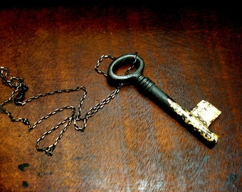 Gilded Key Necklace, Blackened Skeleton Key with Gilding on Black Chain with Gold Tipping, Black and Gold Pendant Key Necklace