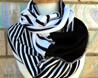 Patchwork black & white infinity sweater knit scarf cowl cozy cotton fall chunky warm soft boho gypsy upcycled wrap knitted stripe striped