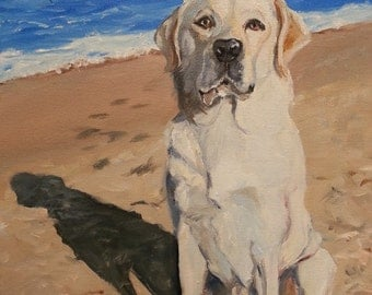 Pet Portrait, Custom, Labrador Retriever with Seascape Painting background, Any Breed, any Landscape painted in Oils, Dog Portrait Christmas