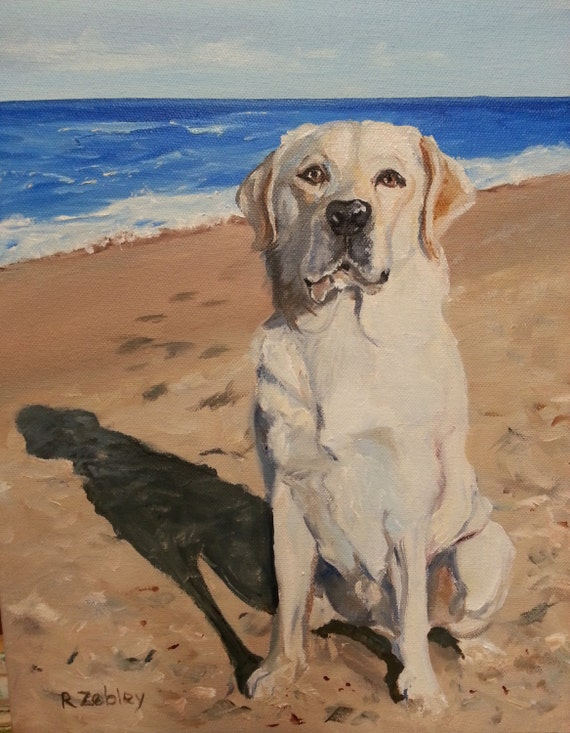 Pet Portrait, Yellow Lab or any breed dog, oil painting landscape background