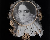 Haggard - Framed Original Mixed Media Textile Art Surreal Photo Embroidery Hoop Fabric Portrait Lace Ripped Face Black & White OOAK Wall