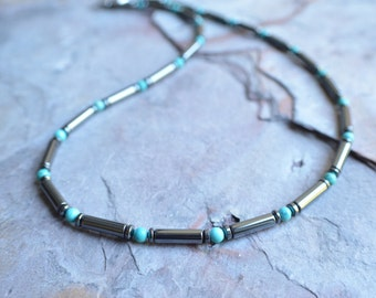 The Cody- Turquoise and Hematite Men's Necklace