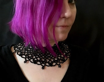 Wide Tatted Lace  Choker - Corseted
