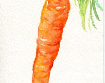 Carrot watercolor paintings original, 4 x 6 , vegetable artwork, kitchen decor, original watercolor painting of carrot, SharonFosterArt