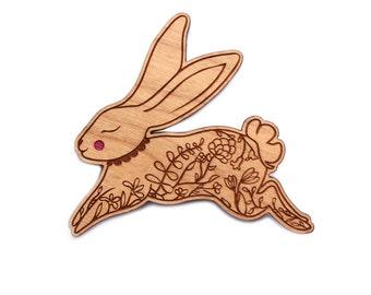 Rabbit Brooch -   cherry wood filigree bunny rabbit hare jewellery jewelry badge pin laser cut flowers