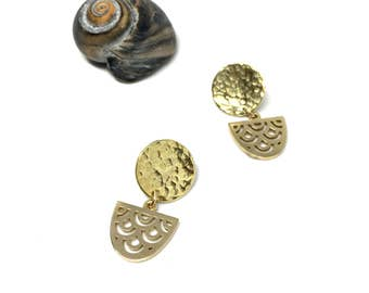 Sun and Moon Mermaid earrings-24K gold plated
