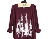 L - Maroon Tri-Blend Sweatshirt Evergreen Trees Print