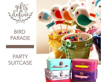 Set of 5 BIRD PARADE Party Suitcase, Custom Color Party Favors or Cake Topper, Bird Theme Birthday Party, Baby Shower Gifts, Wedding Favor