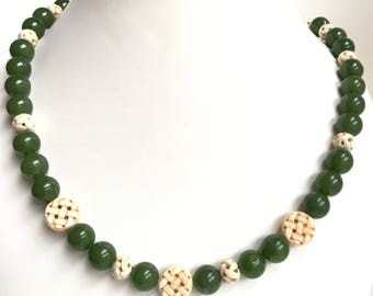 Green Jade necklace, earring set. Carved bone beads. Asian style.