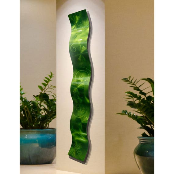 Bright Contemporary Metal Wall Art - Modern Metallic Accent - Handetched Wall Wave Abstract Sculpture -  Lime Green Wave by Jon Allen