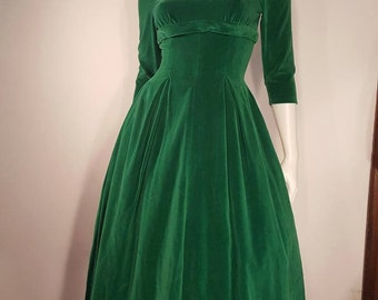 """50s Green VELVET Party Dress 