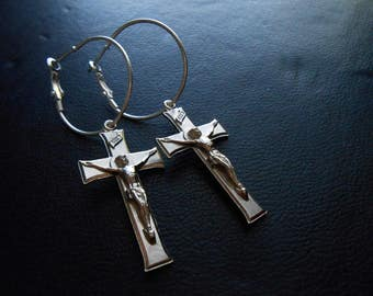 judas - antique crucifix earrings bright silver cross earrings goth jewelry antique cross silver goth earrings minimal goth earrings