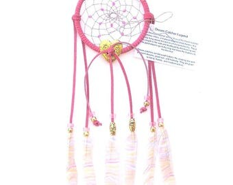 Bright Pink Dream Catcher, Printed Striped Duck Feathers