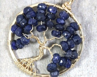 14k gf Blue Sapphire Necklace Tree of Life Pendant September Birthstone Jewelry Navy Blue Gold Wire Wrapped Jewelry Birthday Gift RTS