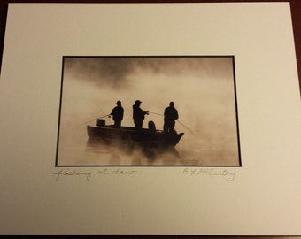 763 D71 8x10 Matted Fishing At Dawn Signed Photography Photograph Print