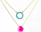 Turquoise Pink Chalcedony Layered Necklace