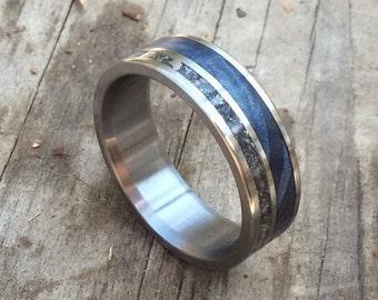 Titanium Ring Meteorite Wood Blue Mens