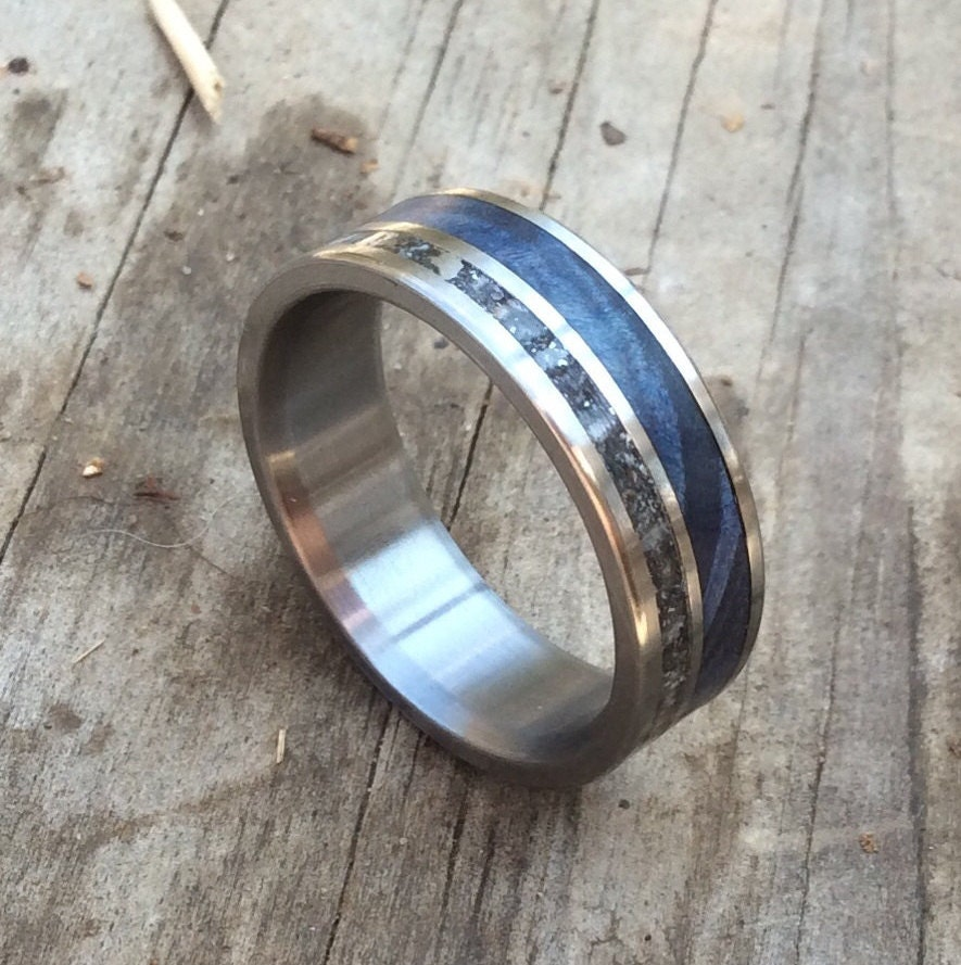 mens wedding ring mens country wedding bands Titanium Ring Meteorite Ring Wood Ring Blue Wood Ring Mens Ring Womens Ring Wedding Band Handmade Ring Engraved Ring Personalized