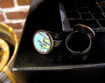 Lucky Penny Map Ring// Vintage Ireland Map Ring - Cork - Dublin Ring - Adjustable Sizes 5-9