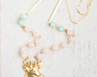 Stag Pendant Necklace, Beaded Necklace, Deer Necklace,  Antler Pendant Necklace, Pastel Necklace, Pastel Bead Necklace