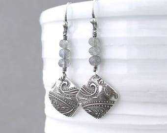 Labradorite Earrings Gray Earrings Silver Drop Earrings Small Gemstone Earrings Modern Handmade Jewelry - Tracey