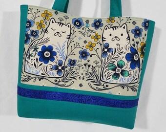 Calico Kitty Cat on Canvas Blue Aqua Teal Flowers purse tote bag