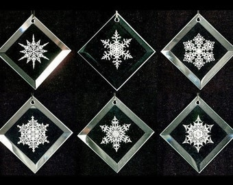 Snowflake Ornaments - Set of 6 - Snowflake Series 1 - Etched Beveled Glass Suncatcher Ornaments - Ready to Ship