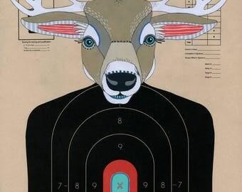Deer - Hand Painted Paper Shooting Target Art