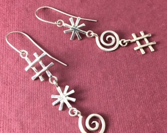 Cursory Earrings: Sterling Silver Cartoon Cursing Swear Word Symbols Dangles
