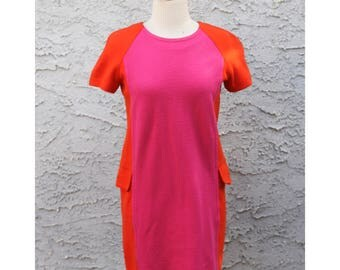 Vintage Bright Pink & Orange Color Blocked Dress - Retro 80s Adrienne Vittadini Women's Size 2 Petite - Mod 60s Style Fashion