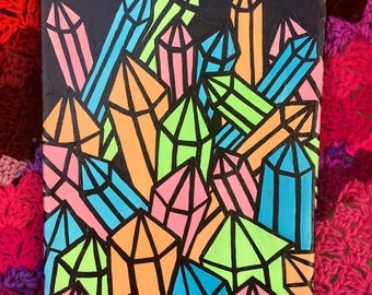 "Neon Crystals 1 Mixed Media Painting 10""x8"" - Pop Art Gallery Wrapped Canvas Artwork, Ready To Hang - Quartz Point Crystal Cavern Decor"