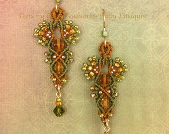 Macrame Earrings in Olive Green and Gold, Beaded Earrings, Micro Macrame, Lace style