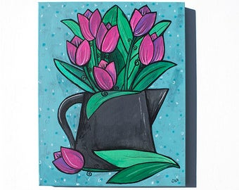 Pink Tulip Painting - Flowers in Watering Can Still Life - Original Mixed Media Painting by Claudine Intner - Bright Color Wall Art Decor