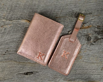 Rose Gold Leather Passport Holder and Luggage Tag Set with Personalized Initial - Custom Travel Gift for Bridesmaids